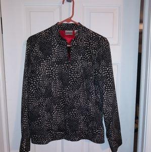 Chicos animal print zip front jacket size 2